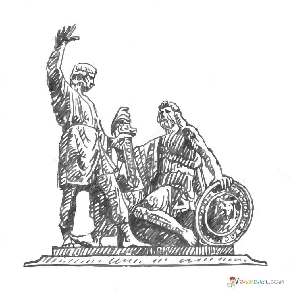 раскраска памятник минину и пожарскому собранные соцветия