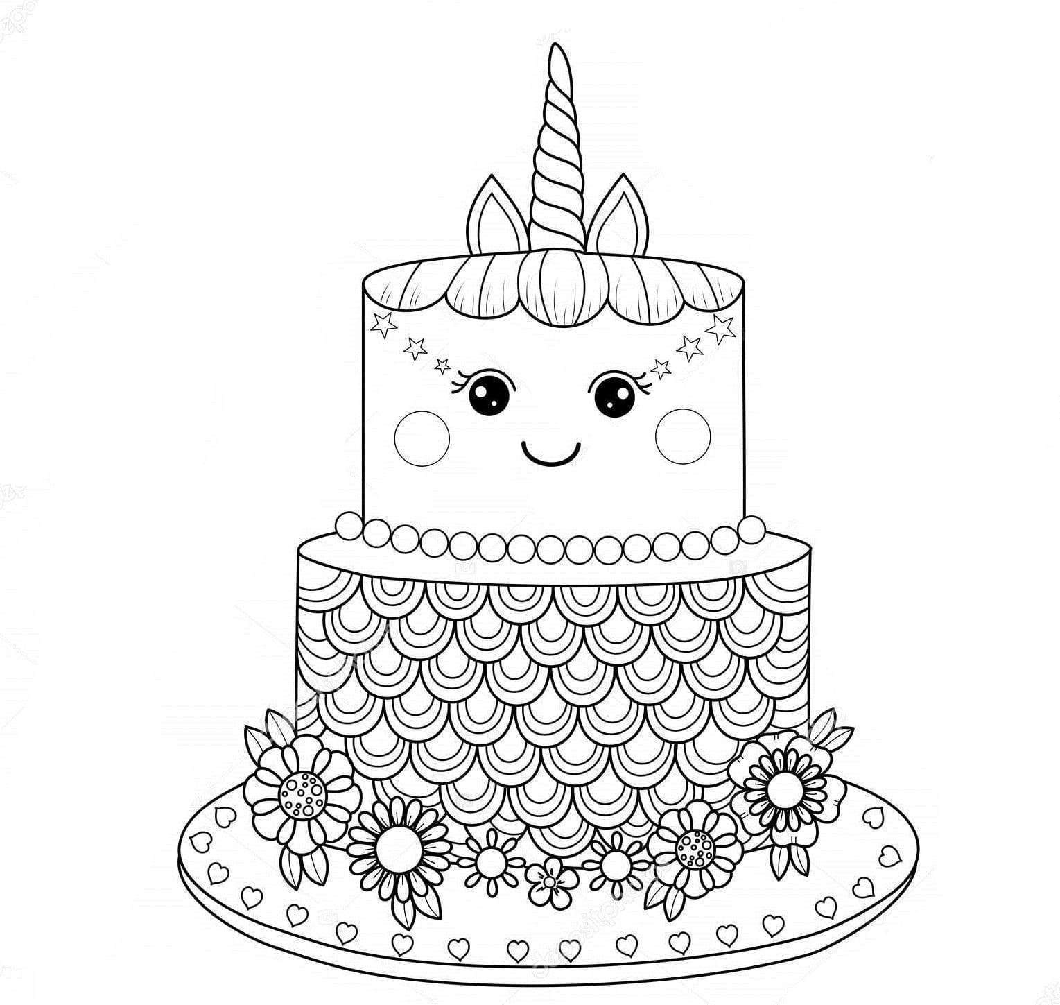 Ausmalbilder Kuchen  13 Bilder zum kostenlosen Drucken