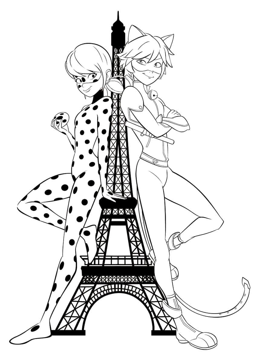 Coloriage Ladybug et Chat Noir.Imprimer Miraculous gratuitement