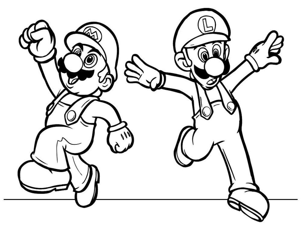Dibujos Mario Bros para colorear. 100 imágenes se imprimen gratis