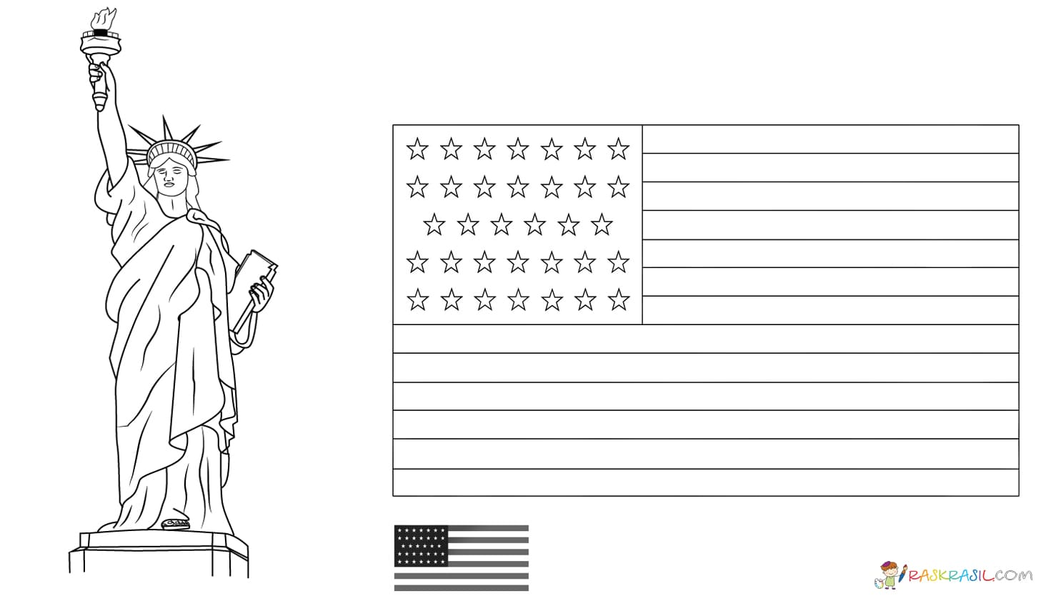 American Flag Coloring Pages. You Can Print On The Site For Free
