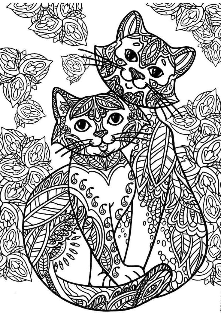 Coloring pages anti stress Animals. Print for free, 100 pieces