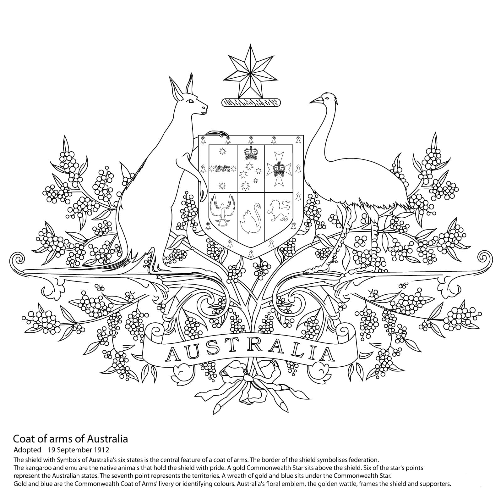 Coloring pages Day Australia. Print holiday pictures for free