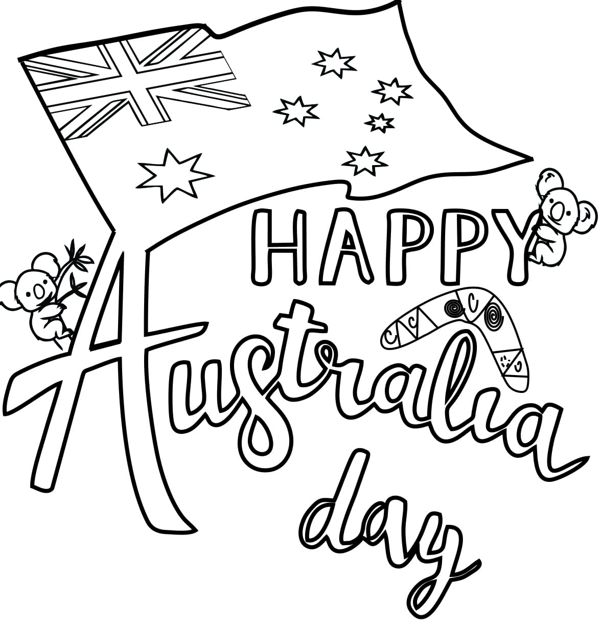 Australia Flag Coloring Page - A Free Travel Coloring Printable | 1225x1176