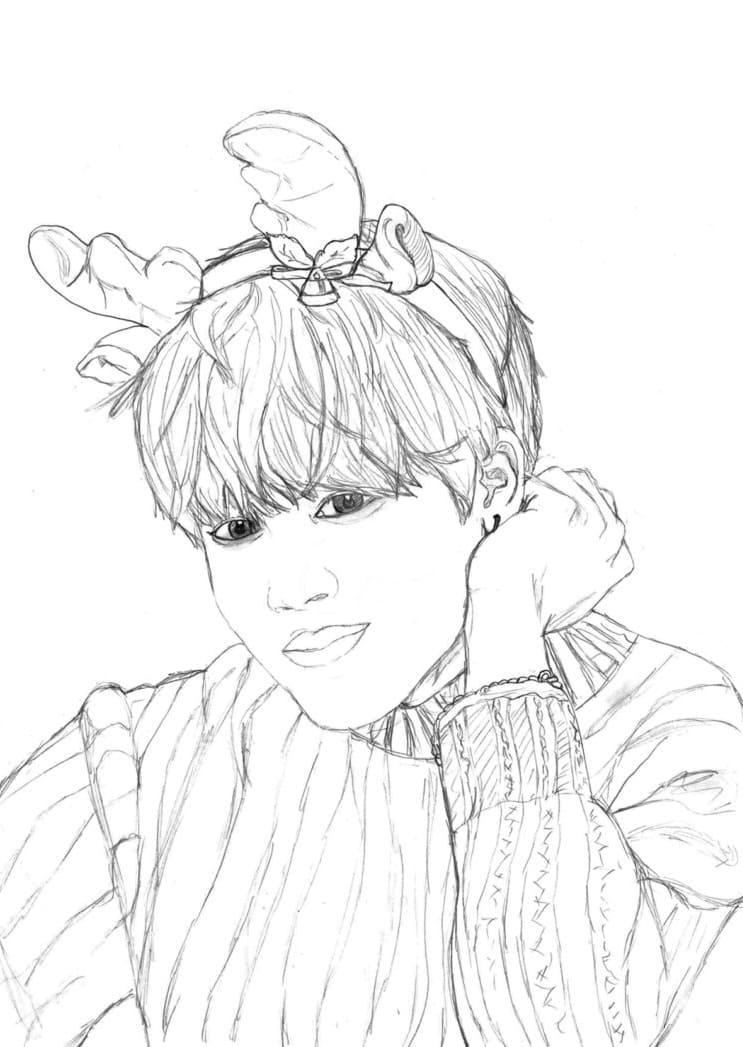 BTS Coloring Pages. Print members of a popular Korean group