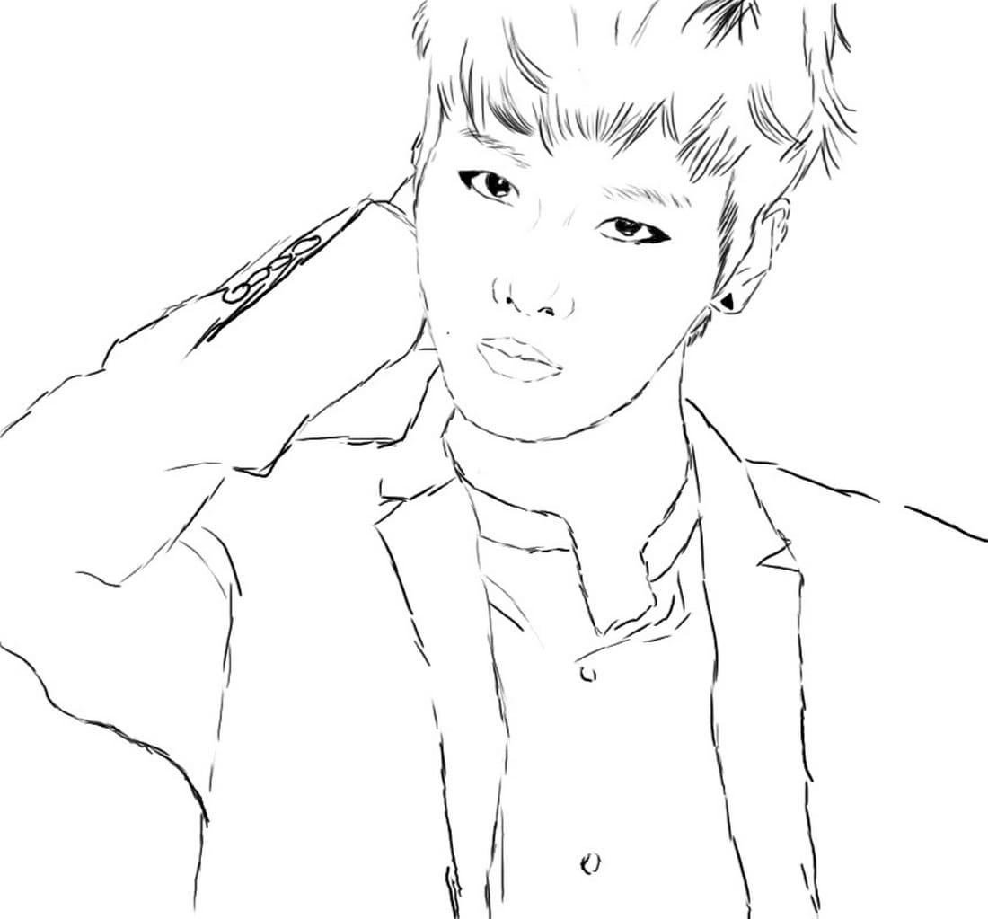 Dibujos de BTS para colorear. Imprimir popular grupo surcoreano