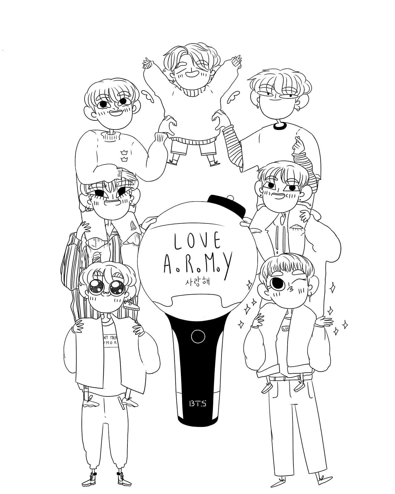 Раскраски БТС (BTS). Распечатайте участников популярной группы