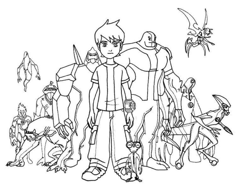 Desenhos de Ben 10 para colorir. Imprima de graça, 130 imagens