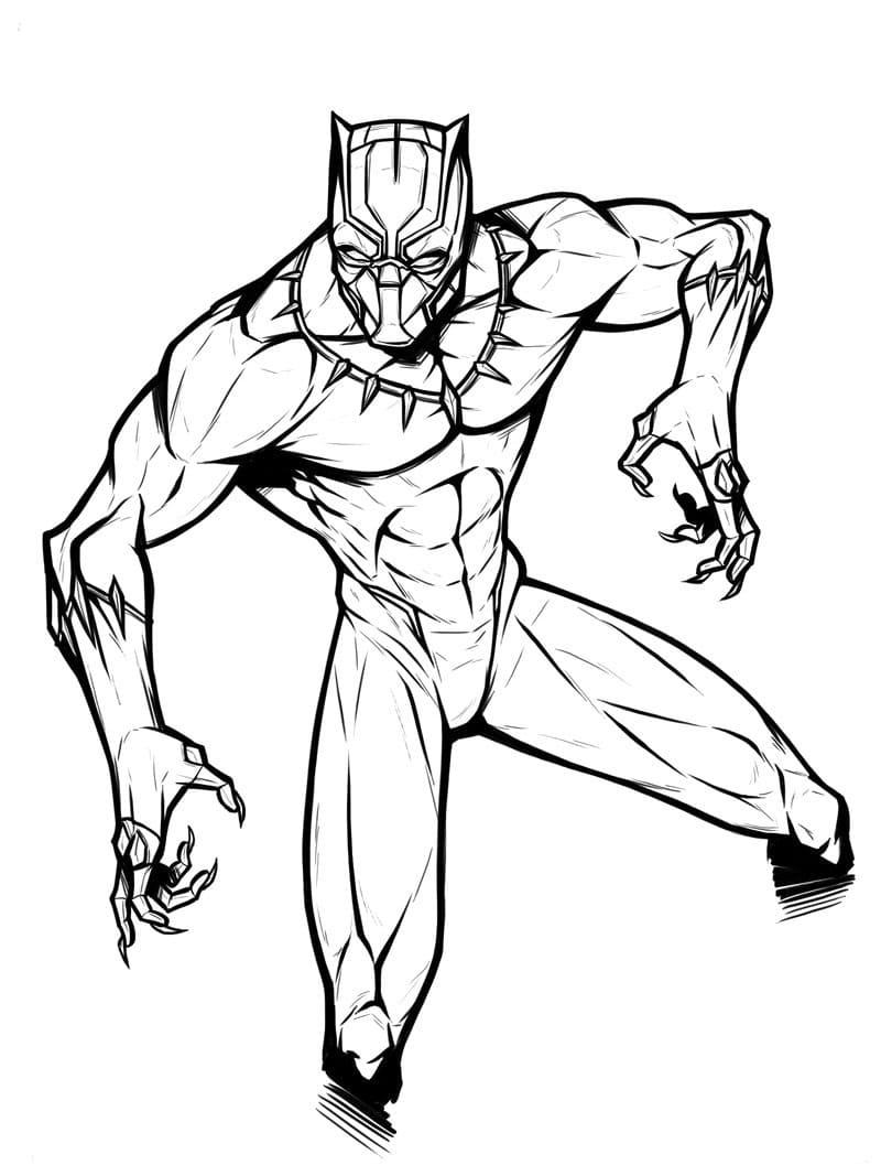 Coloring pages Black Panther. Superhero Marvel Free