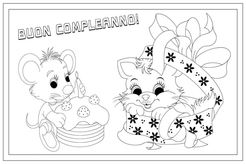 Disegni di Buon compleanno da colorare. Stampa biglietto di auguri