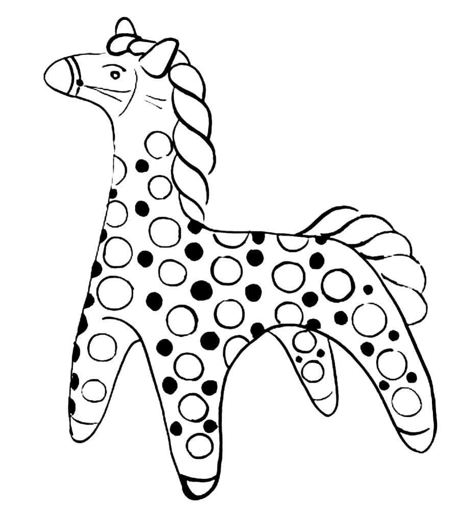 Раскраски Дымковская игрушка. Распечатайте индюка, барышню, коня