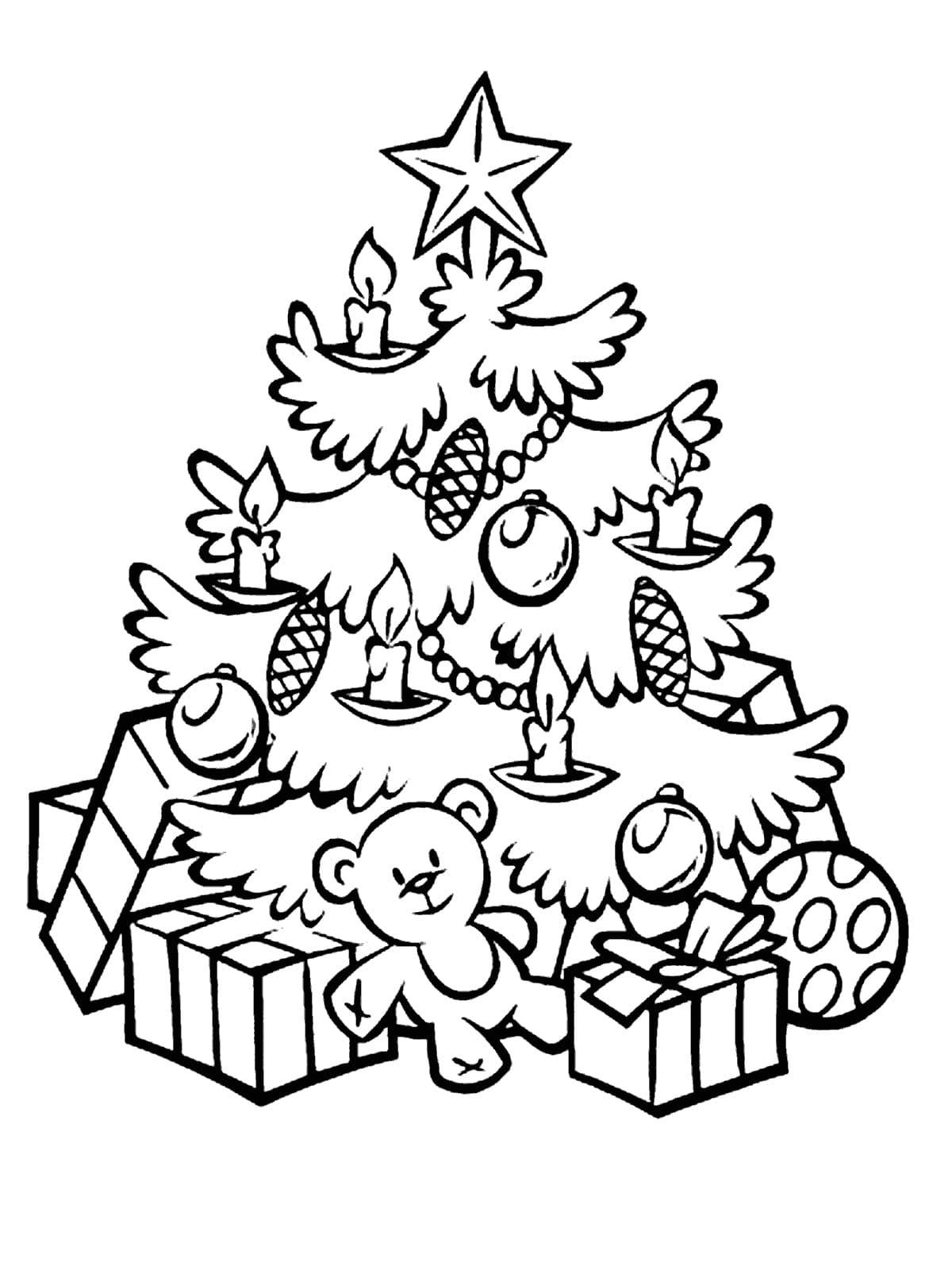 Рисунок елка с подарками