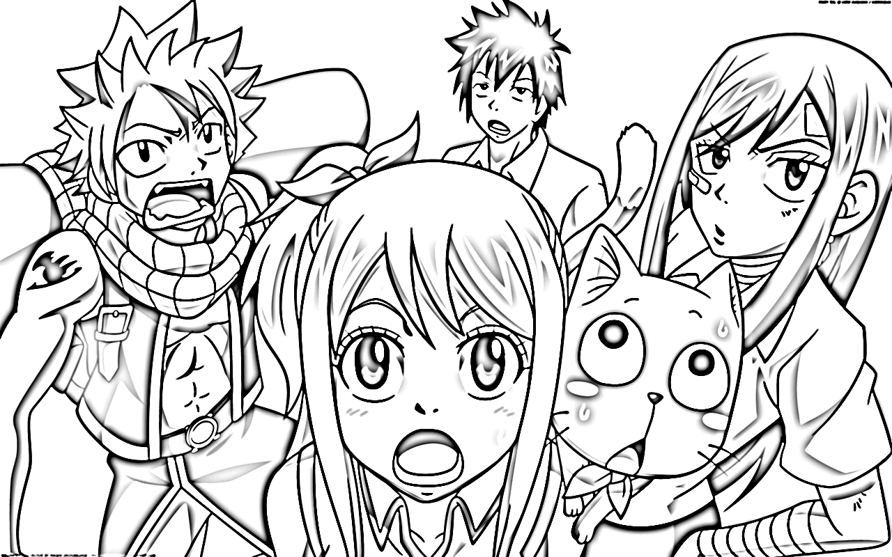 Coloring Pages Fairy Tail Print Free Anime Characters
