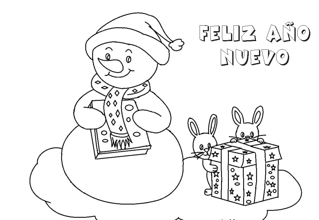 Dibujos de Año Nuevo para colorear. Imprimir en línea
