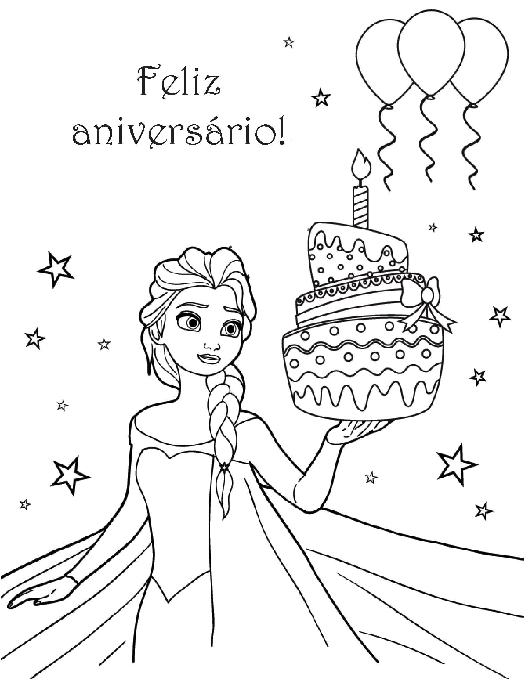 Desenhos De Feliz Aniversario Para Colorir Imprimir Cartao Postal