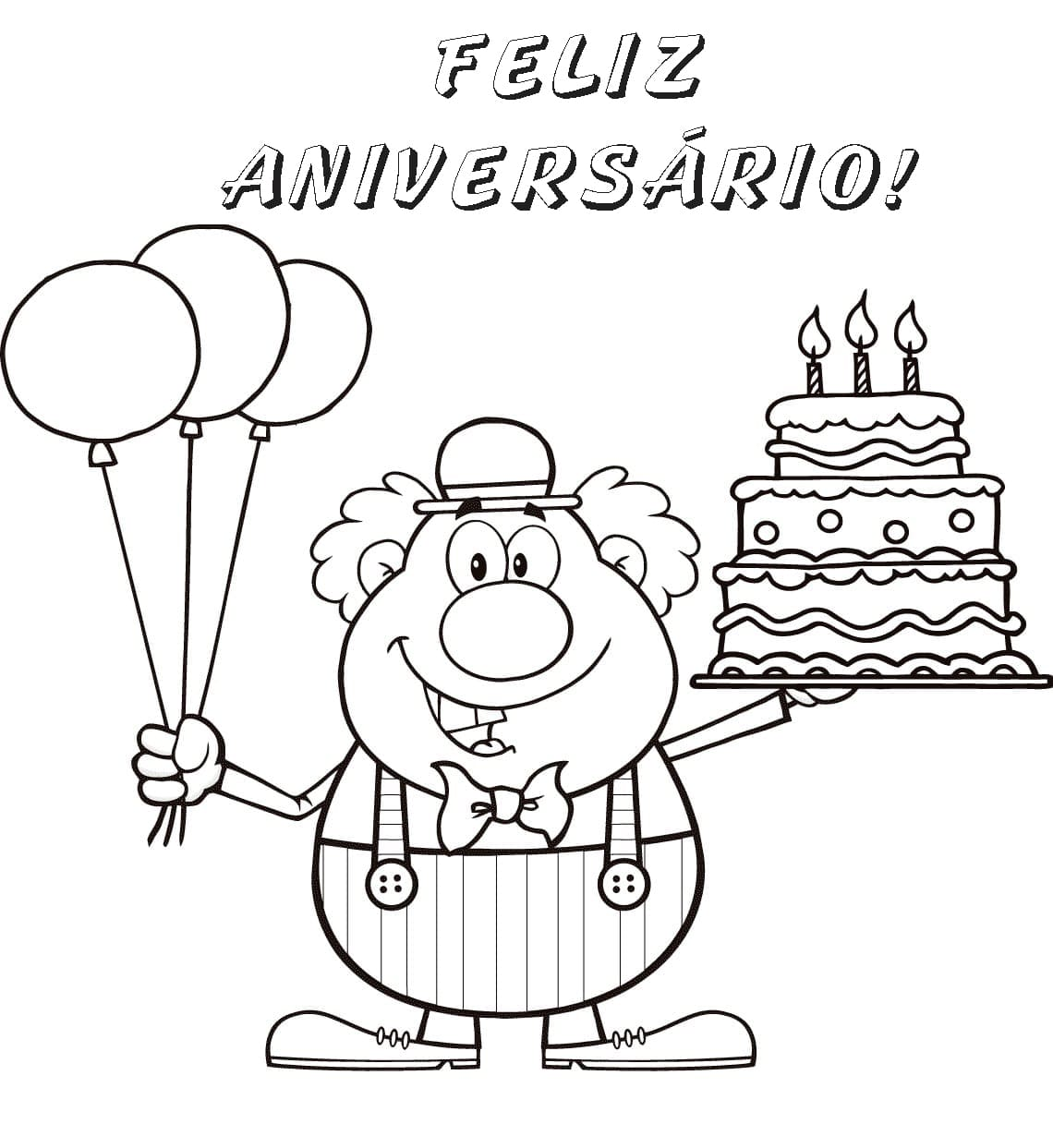 Desenhos De Feliz Aniversário Para Colorir Imprimir Cartão