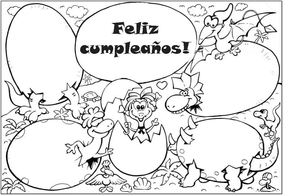 Dibujos Para Colorear Feliz Cumpleaños Imprimir Postales