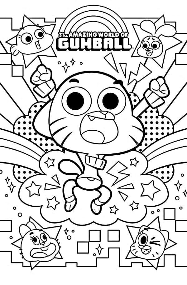 Раскраски Гамбола. Раскрась котика и его семью. Распечатать онлайн