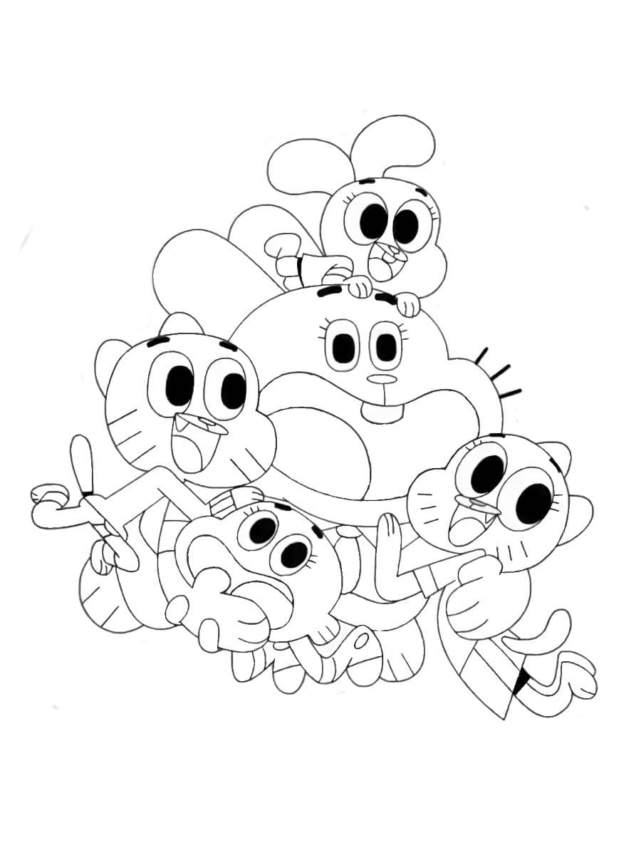 Раскраски Гамбола. Раскрась котика и его семью ...