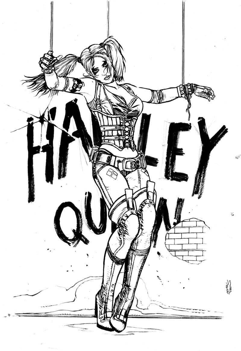 Раскраски Харли Квинн. Распечатайте суперзлодейку