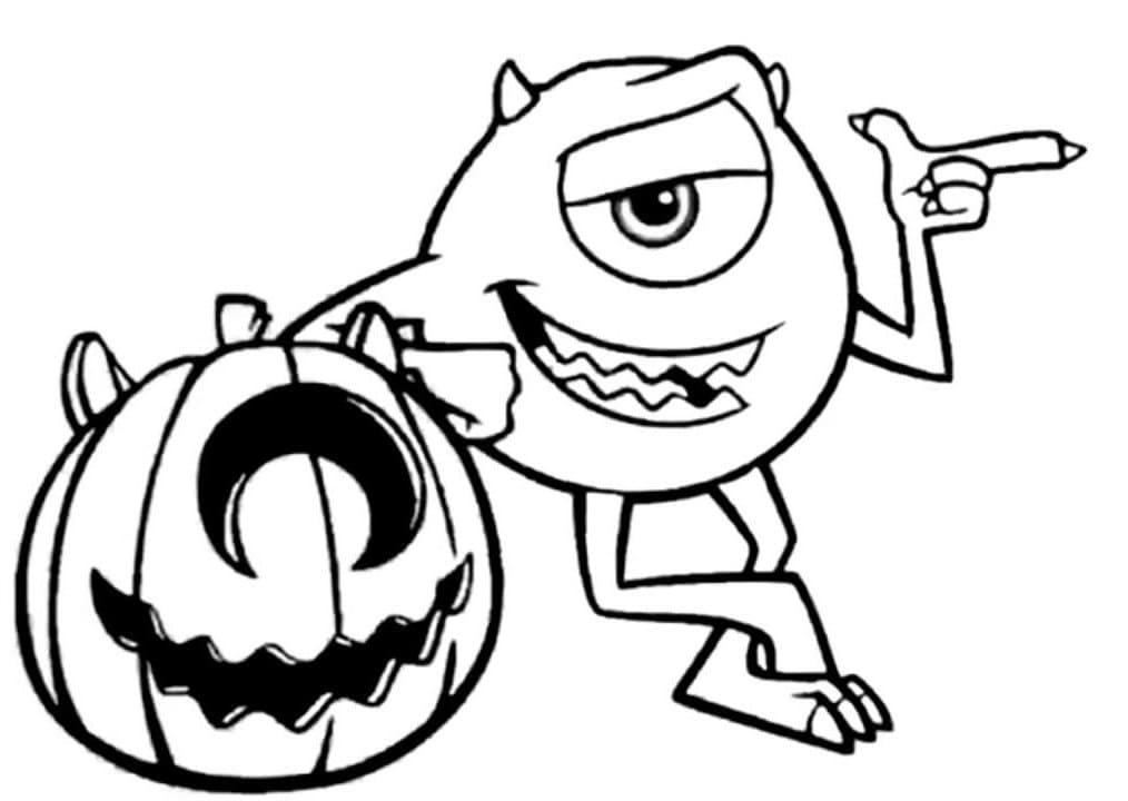 Ausmalbilder Monster Inc. Mike, Sally und andere Monster