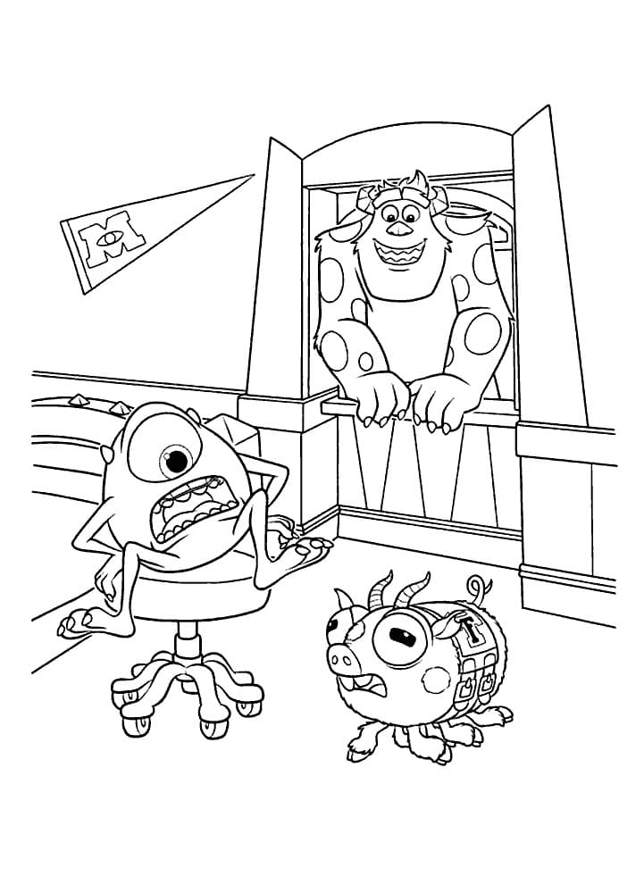Ausmalbilder Monster Inc. Mike, Sally und andere Monster
