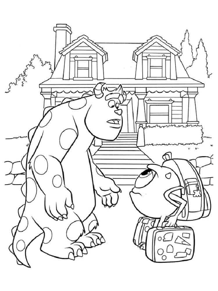 Monster Inc. Coloring Pages. Mike, Sally and other monsters