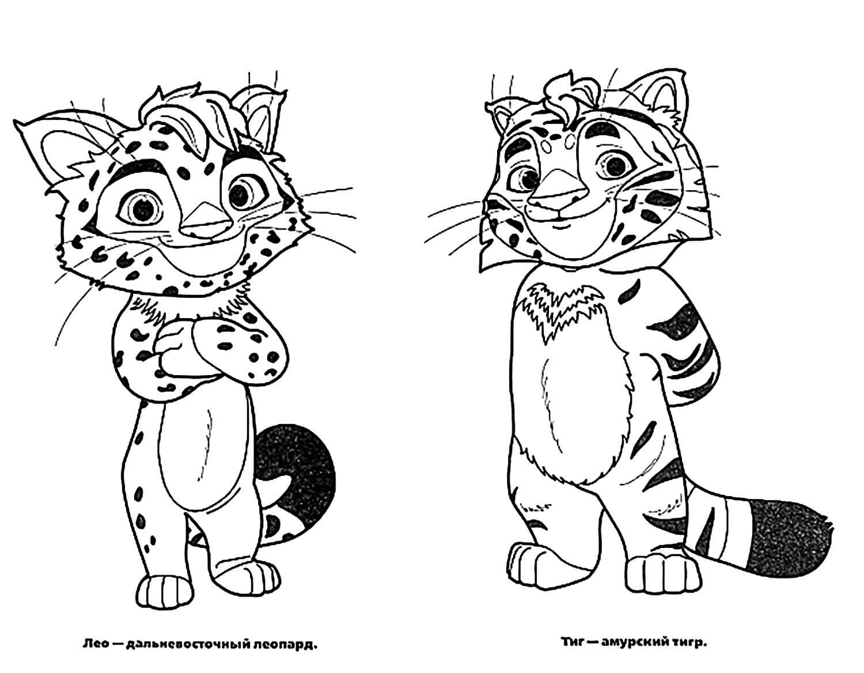 Раскраски Лео и Тиг. Скачать и распечатать бесплатно