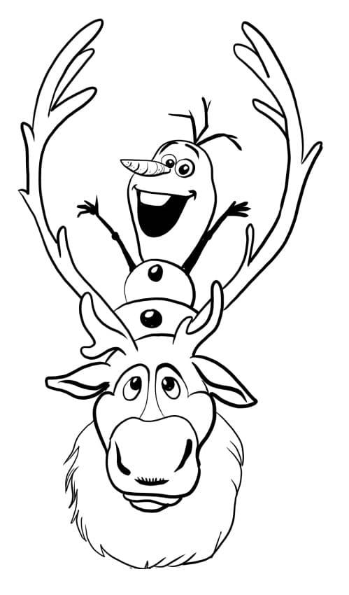 Disegni di Olaf da colorare. Stampa pupazzo di neve di Frozen