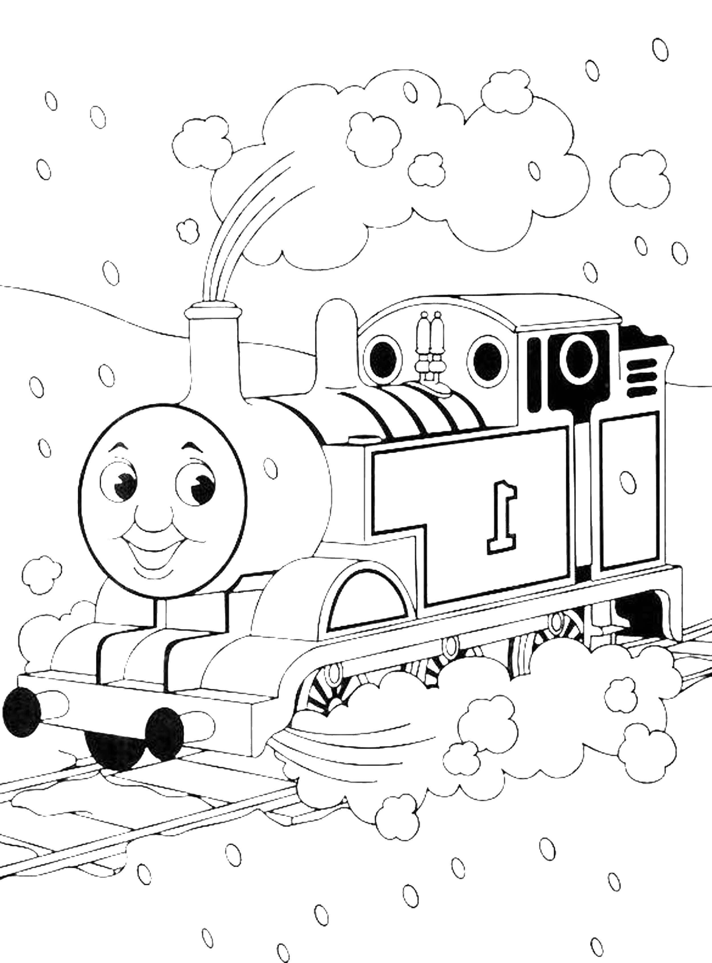 Картинка раскраска паровоза сказочного