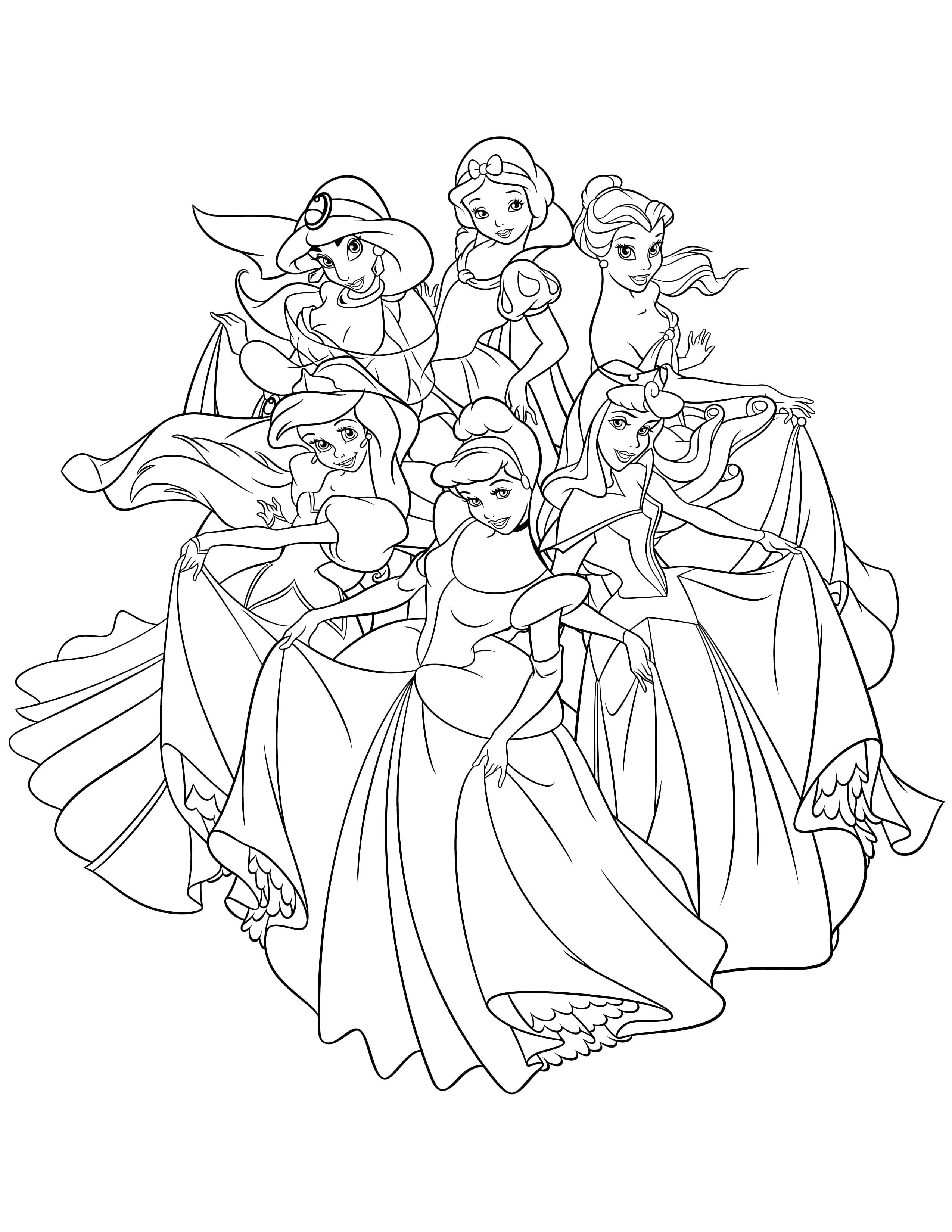 Ausmalbilder Prinzessin. 10 Bilder zum kostenlosen Drucken