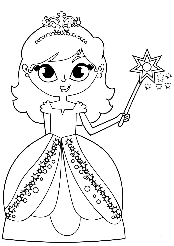 Ausmalbilder Prinzessin. 11 Bilder zum kostenlosen Drucken