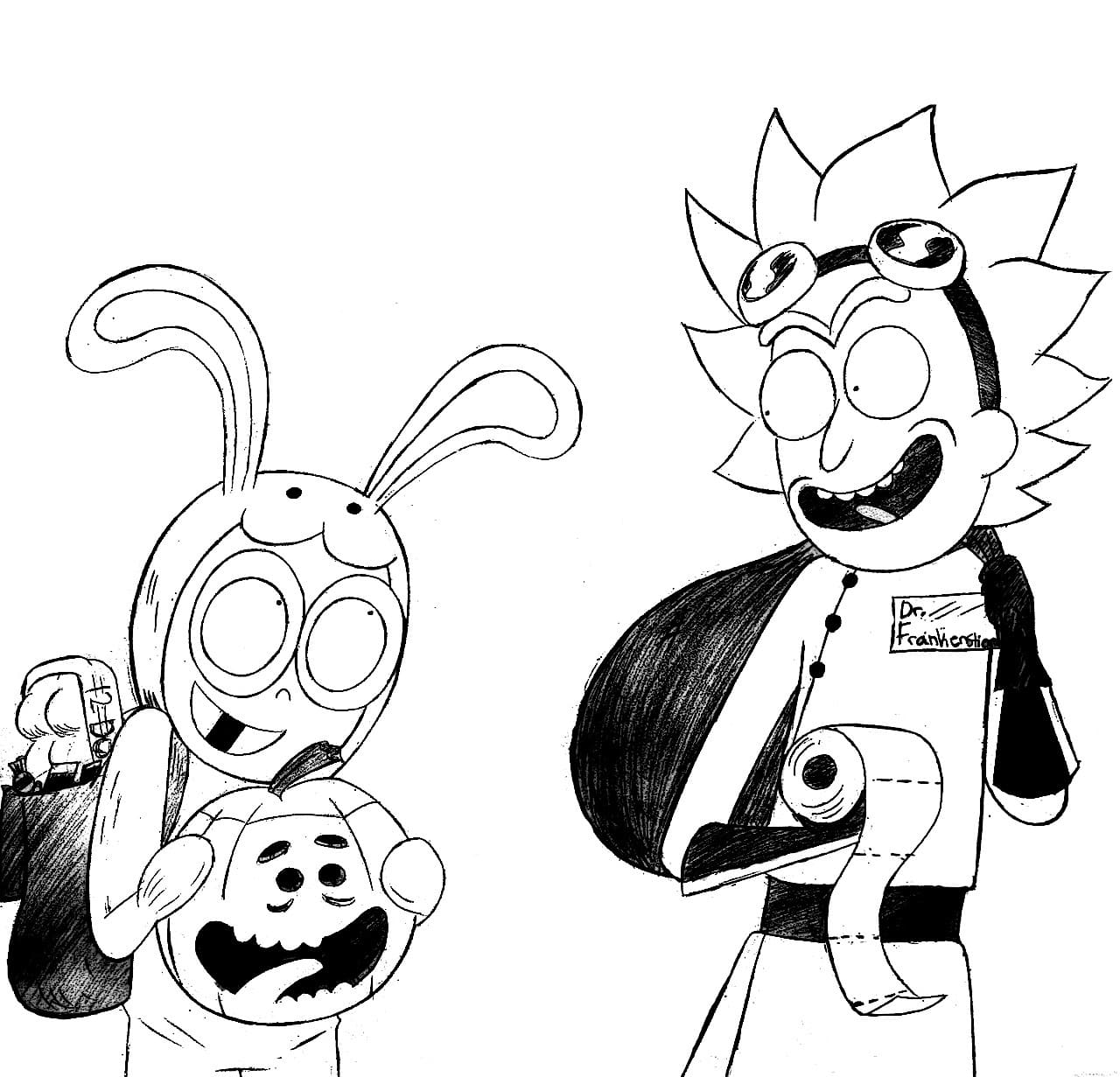 Coloring pages Rick and Morty. Print intergalactic images here