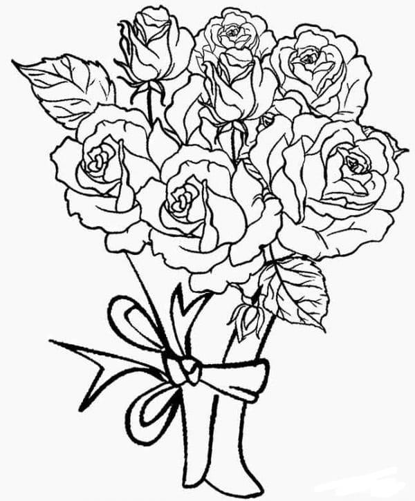 Картинки раскраски розы букеты