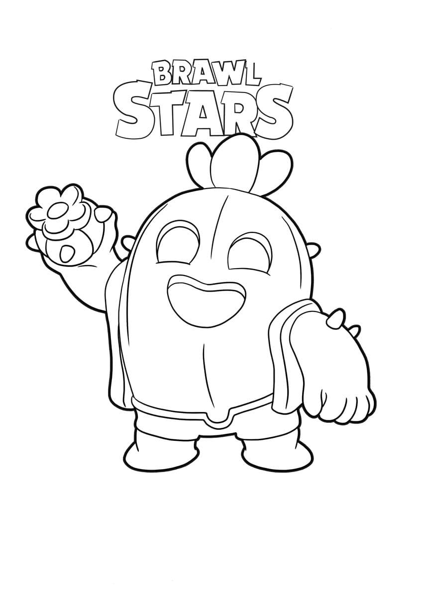 Spike Coloring Pages. Print Character Brawl Stars