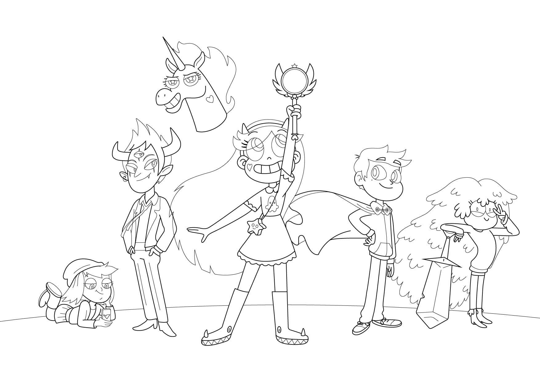 Ausmalbilder Star vs the Forces of Evil. Drucken Sie die Prinzessin