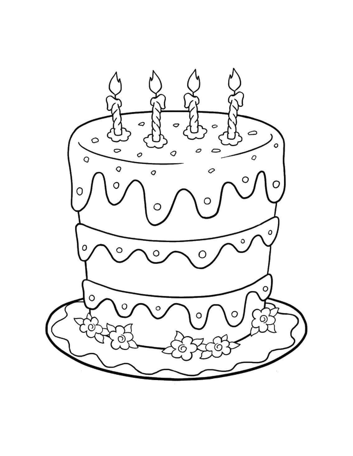 Раскраски Торт. Распечатать бесплатно, 110 изображений