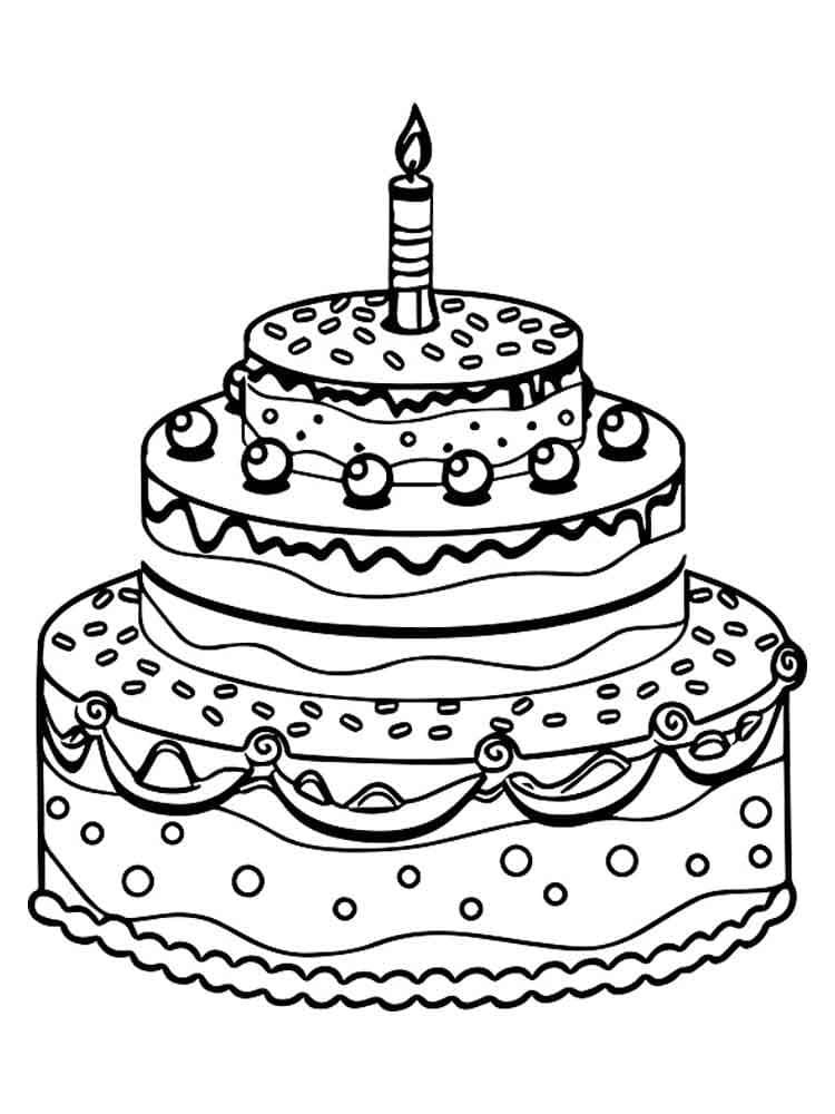 Открытка с тортом с днем рождения нарисовать