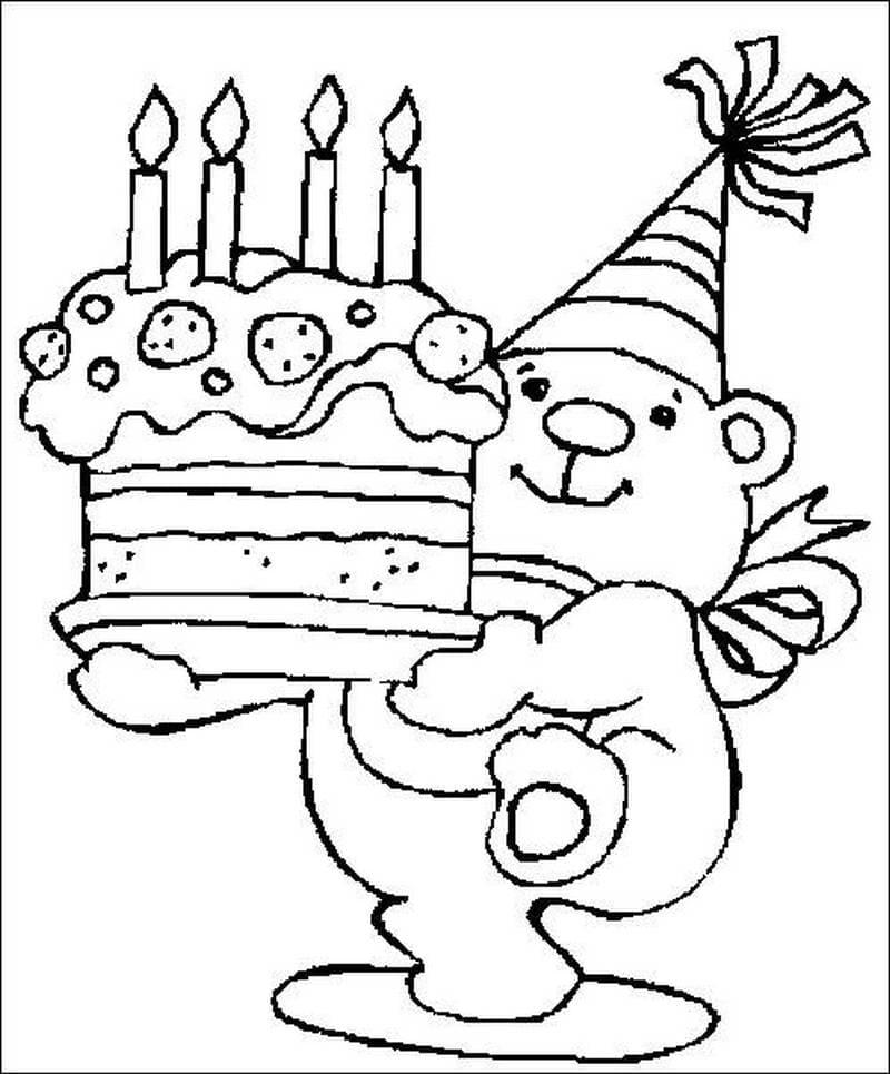 Распечатать раскраску открытку с днем рождения для мальчика