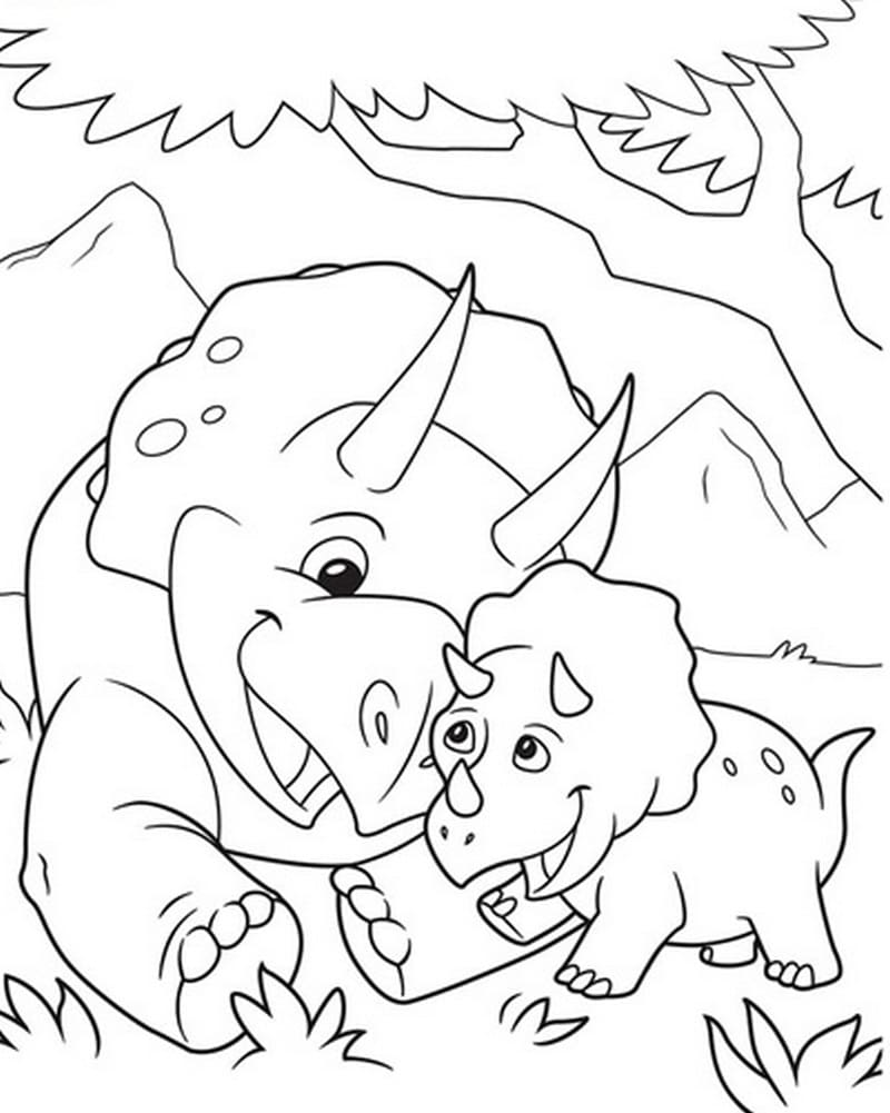 Coloring pages Triceratops. Download or print for free
