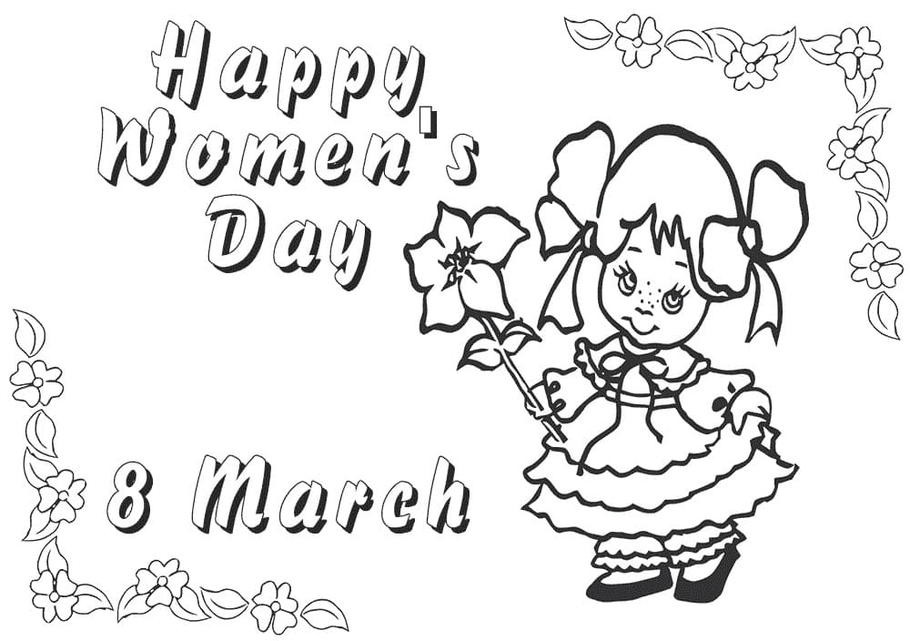 Coloring pages Women's Day March 8th. Print and congratulate women