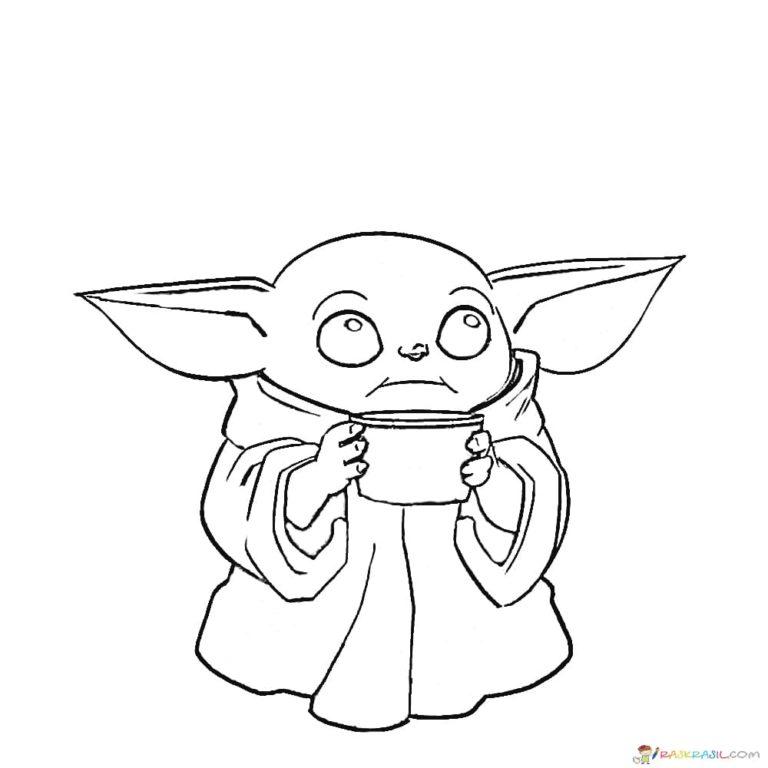 ausmalbilder baby yoda mandalorian und baby yoda kostenlos