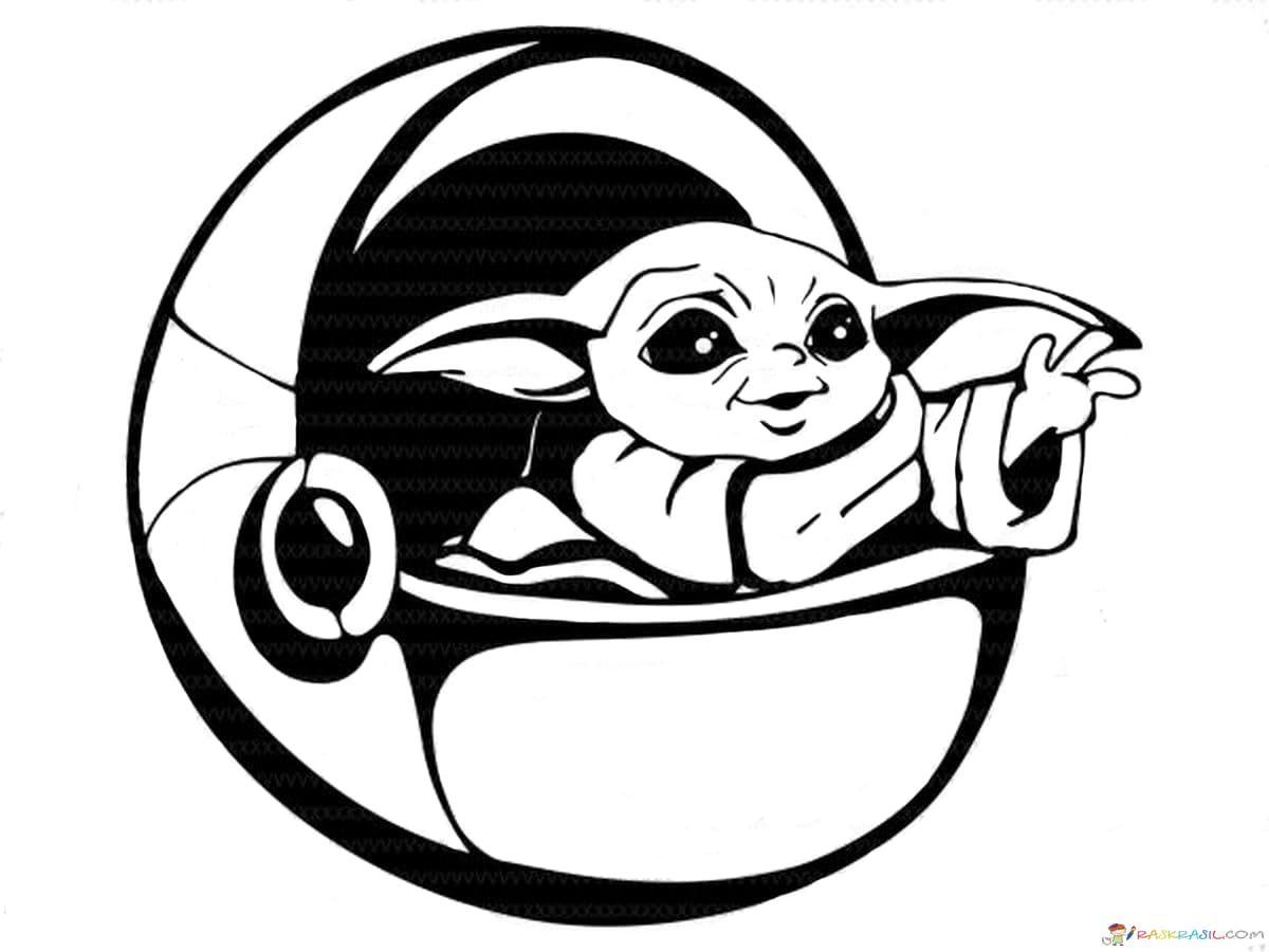 Baby Yoda Colouring Sheet - colouring mermaid