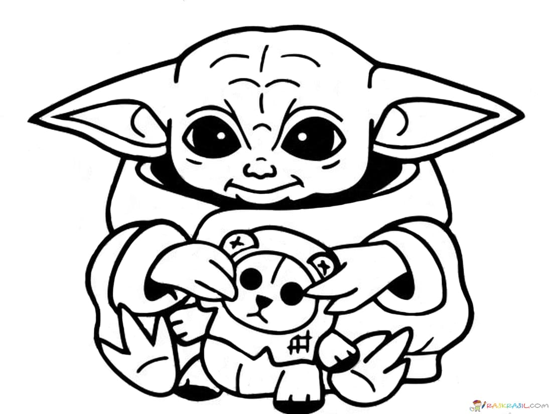 Coloring Pages Baby Yoda. The Mandalorian and Baby Yoda Free
