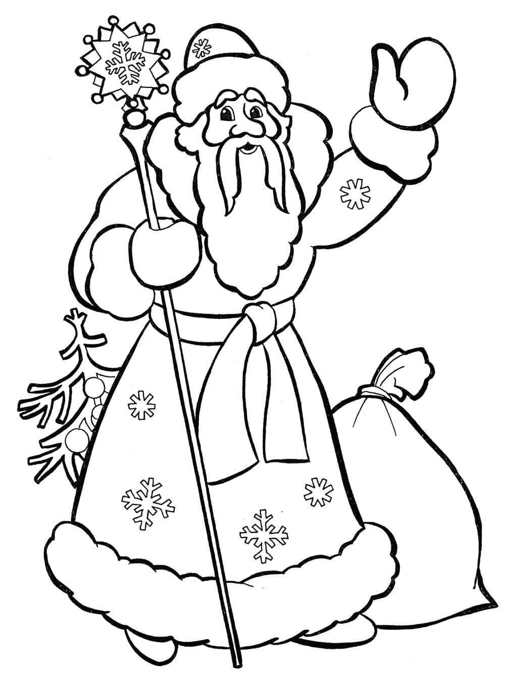 Раскраски дед мороз и снегурочка для детей