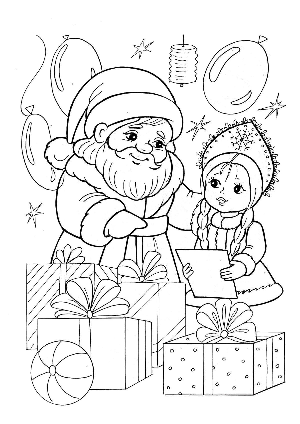 Раскраски дед мороз и снегурочка для детей, косичками