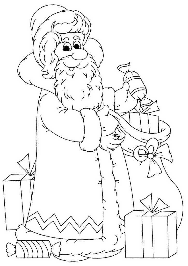Новогодние картинки раскраска дед мороз елка и снегурочка, кисе