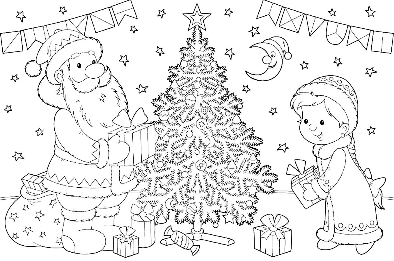 Новогодние картинки раскраска дед мороз елка и снегурочка, открытки