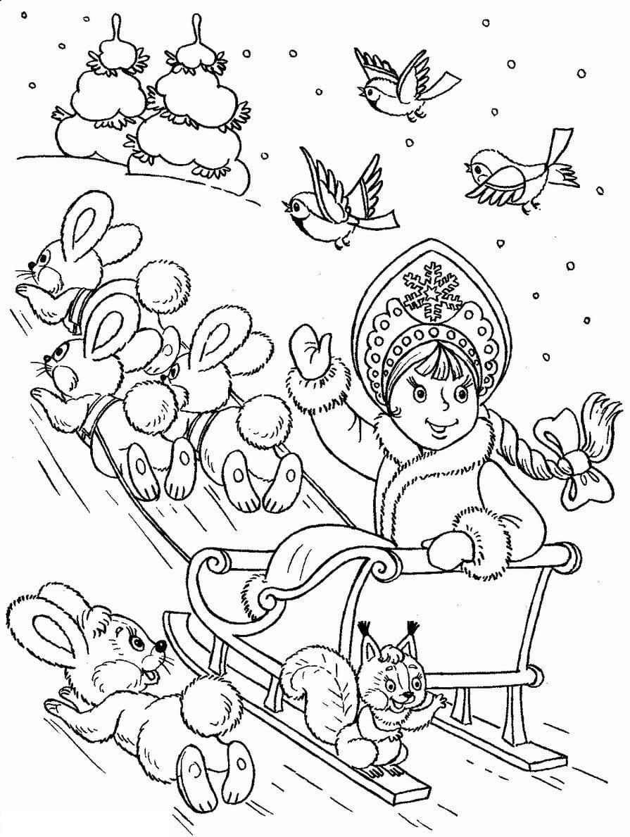 Раскраски Деда Мороза и Снегурочки. Скачайте или распечатайте онлайн