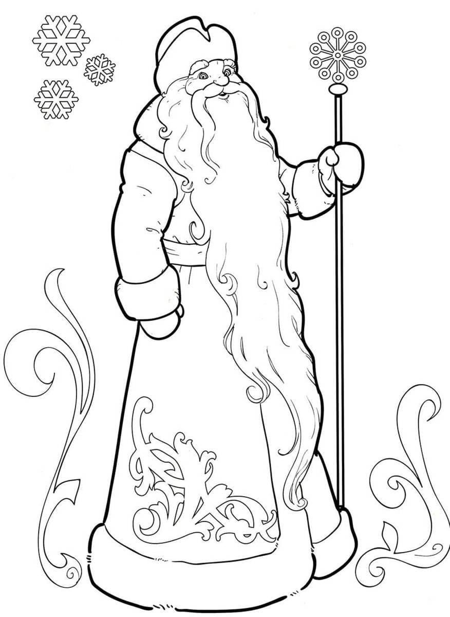 Картинки черно белые дед мороз снегурочка